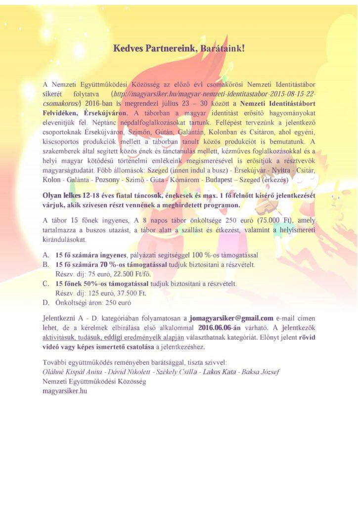 Felhívás július 23-30 közötti Nemzeti Identitástáborra